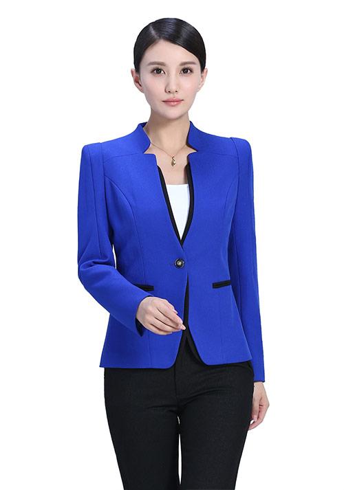 蓝色一粒扣女士西服