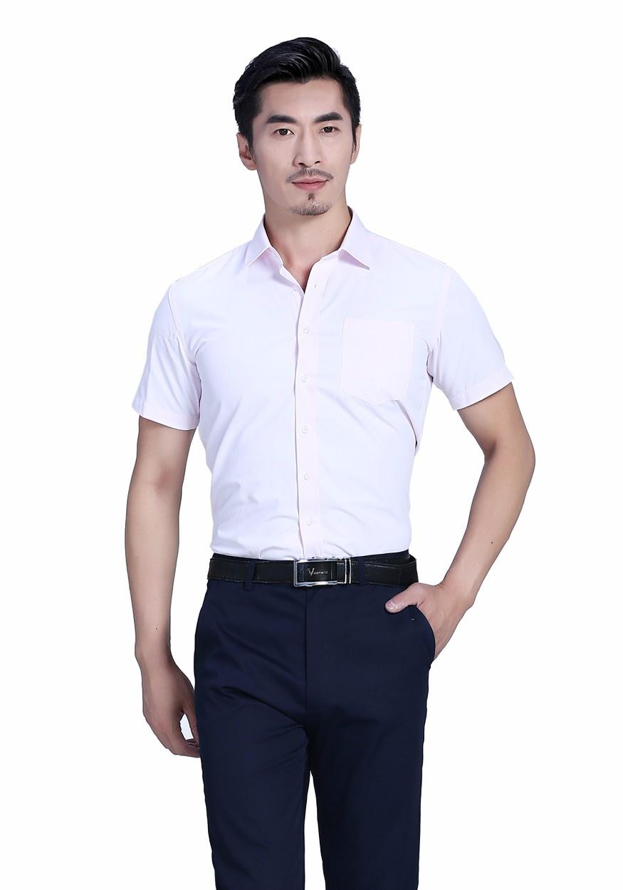 衬衫粉色男粉色全棉商务短袖衬衫