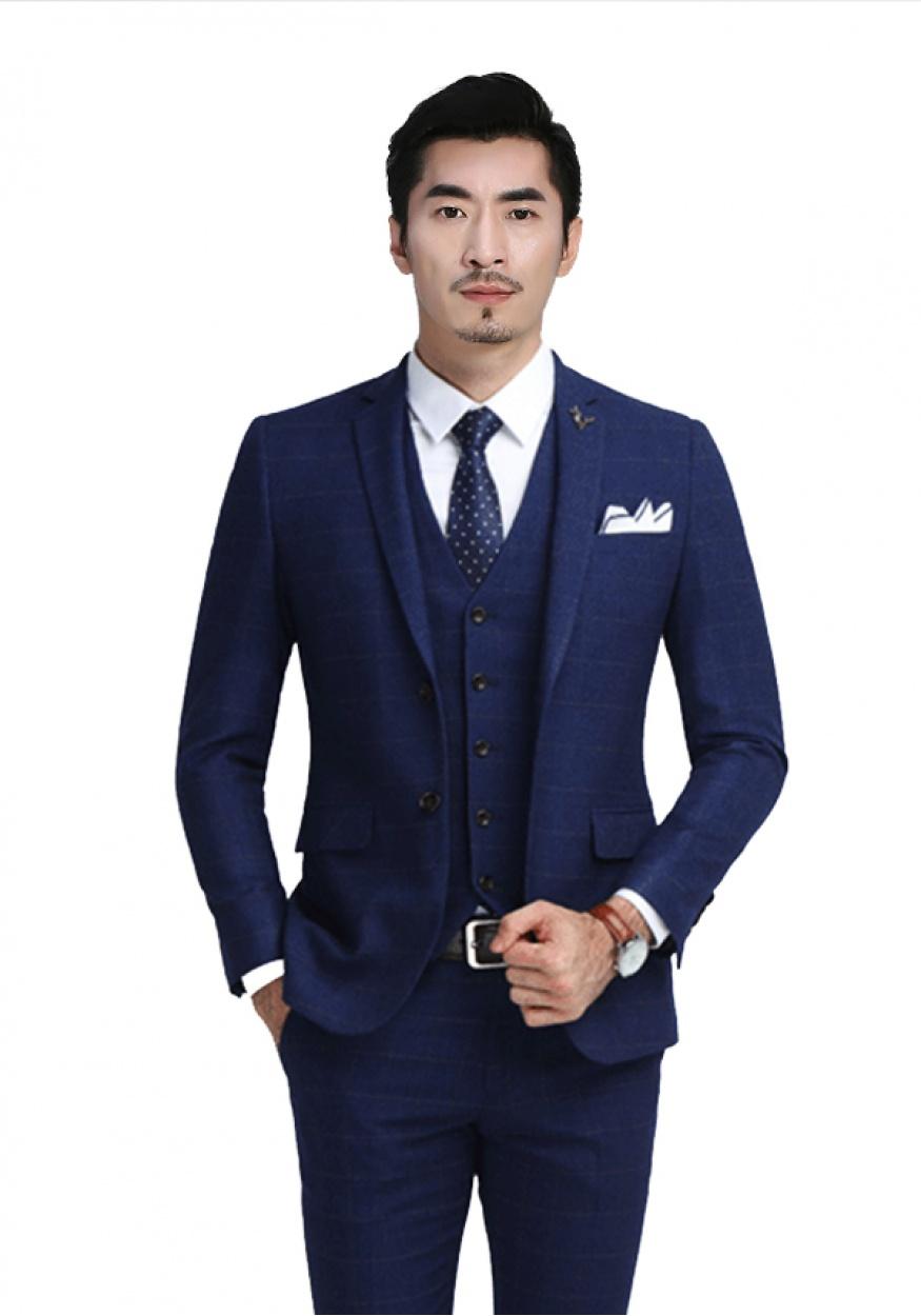 蓝色商务男士西装西服