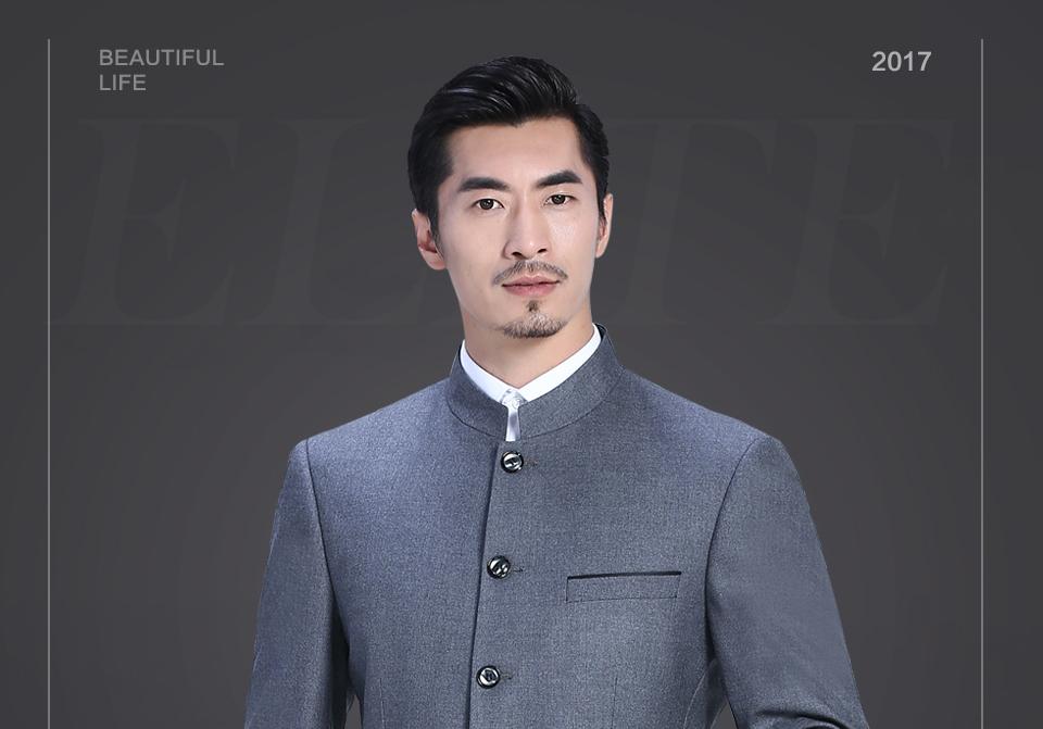新款灰色休闲中华立领套装FX10